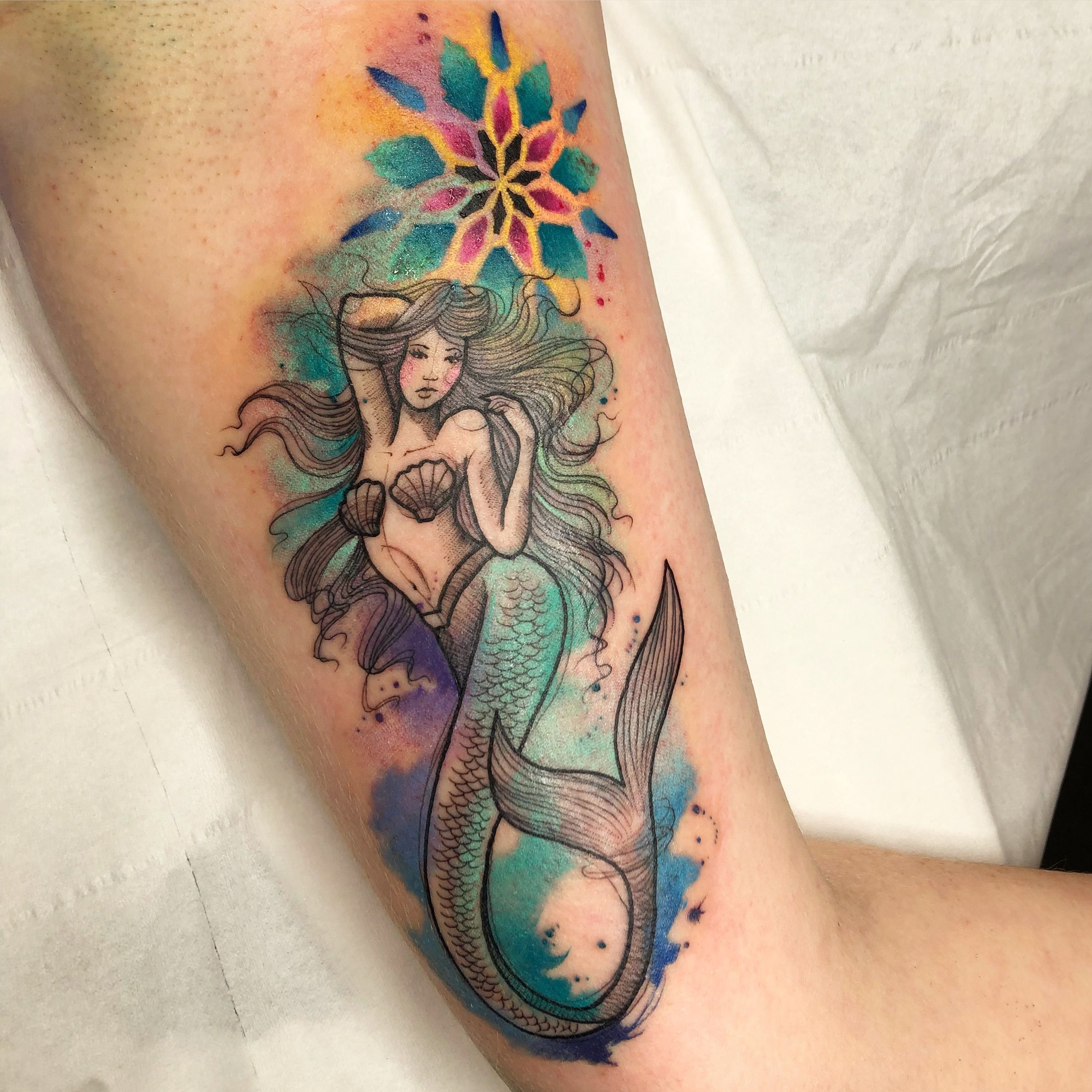 Watercolour Mermaid Mandala Tattoo Mermaid Tattoos Watercolor Mermaid Tattoo Tattoos