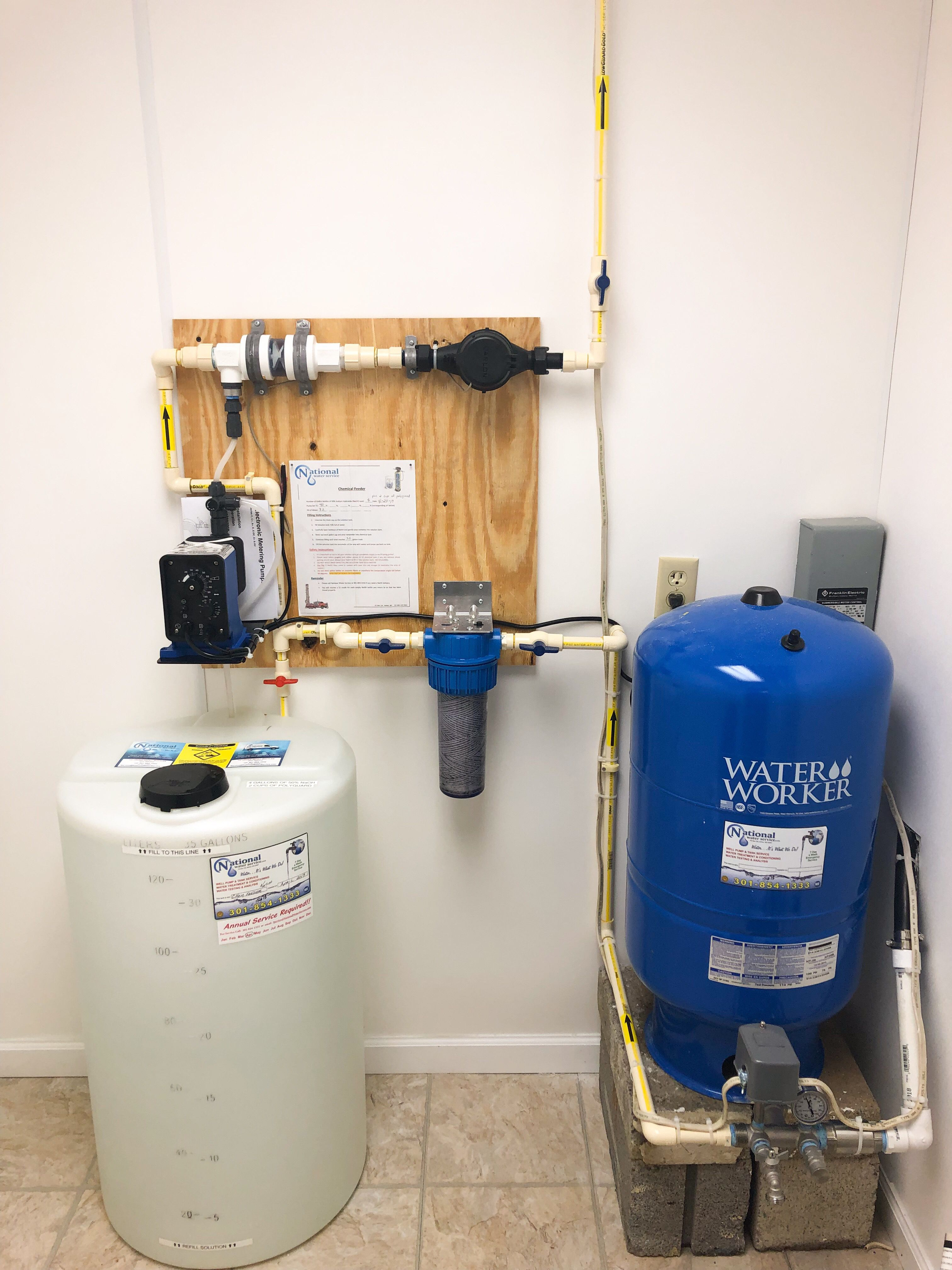 Chemical Feeder Installation In Maryland Water Treatment Water Quality Well Pump