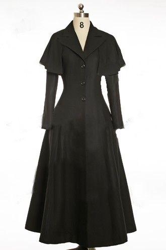 Manteau long en flanelle de laine noir. Cape amovible. Réglage dans le dos - Elegant Goth Gothic,Royal Flannel Wool Coat (also available in knee length version) ♥♥