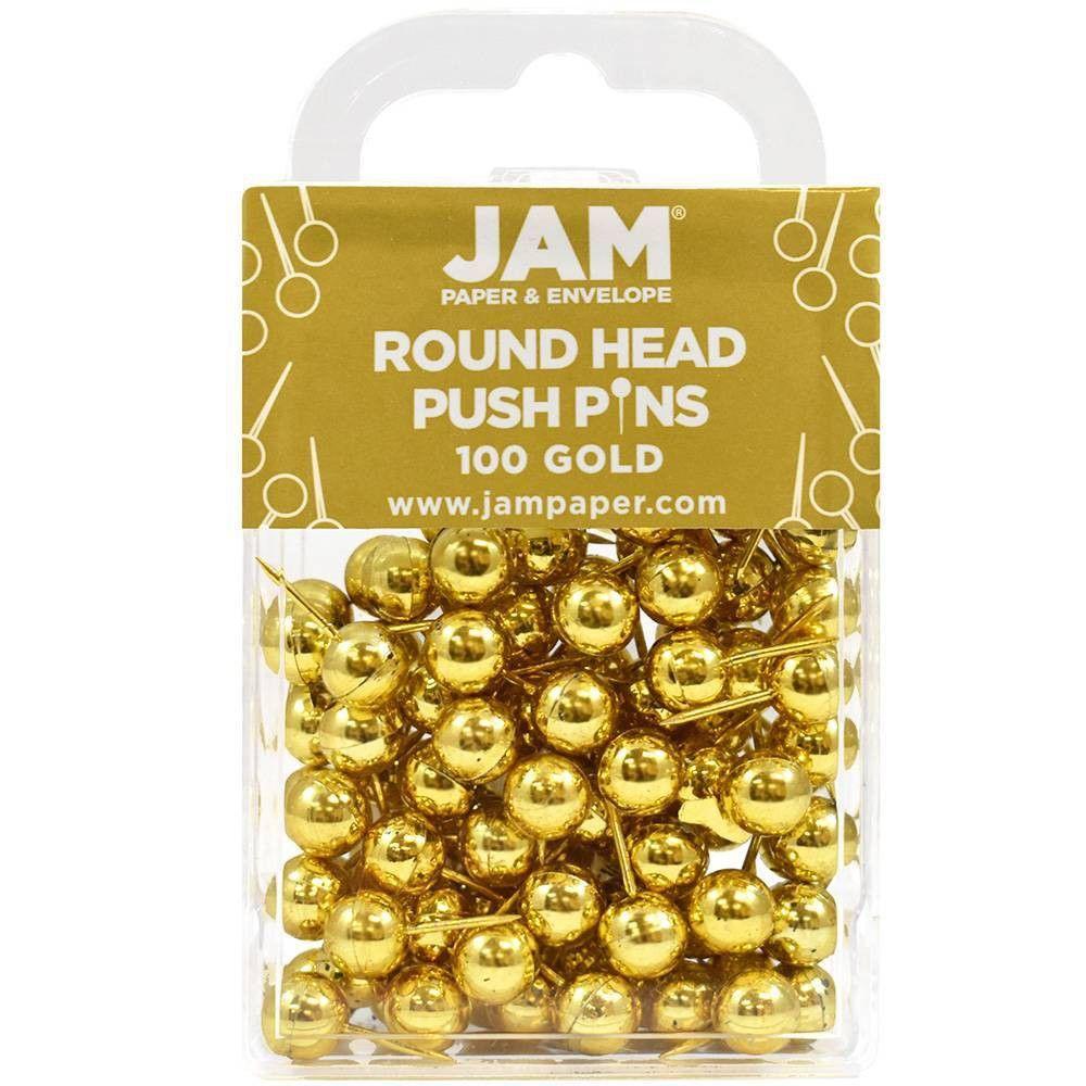 JAM Paper 100pk Colorful Round Head Push Pins - Go