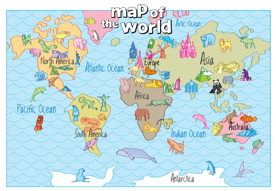 Hand Drawn Map Of The World.Family World Map Hand Drawn Print Wall Art Fun Maps For Kids