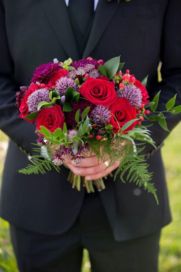 Vibrant red & purple bouquet