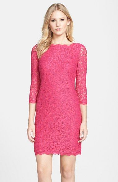Adrianna Papell Long Sleeve Lace Sheath Dress (Regular & Petite ...