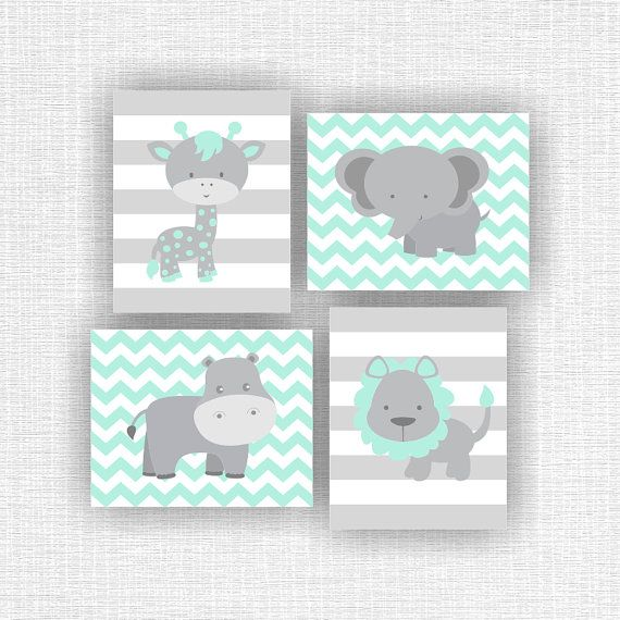 INSTANT DOWNLOAD Mint and Gray Jungle Animals Nursery Prints, Lion ...