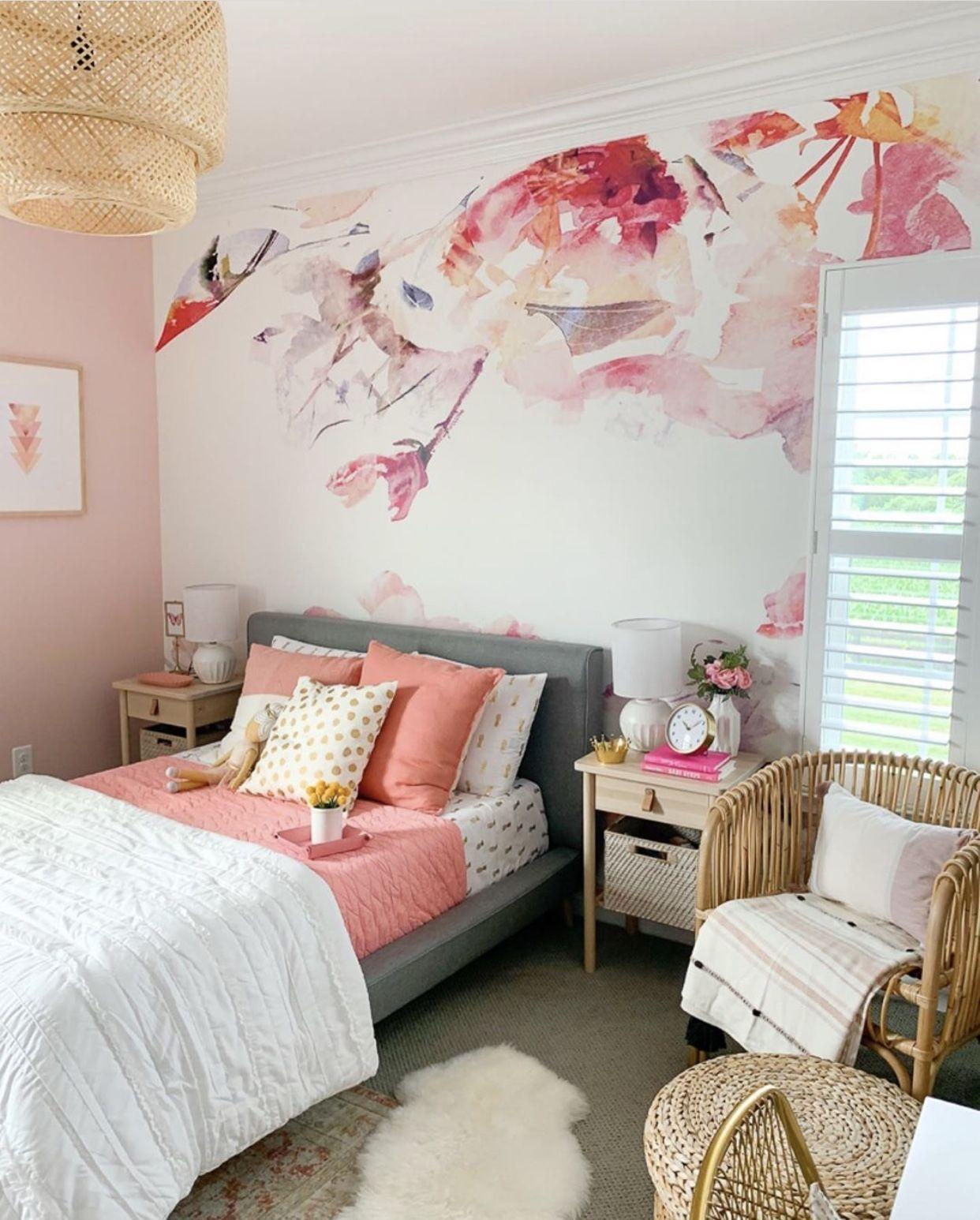 Spring Floral Mural Bedroom Decor Room Ideas Bedroom Boho Chic Bedroom