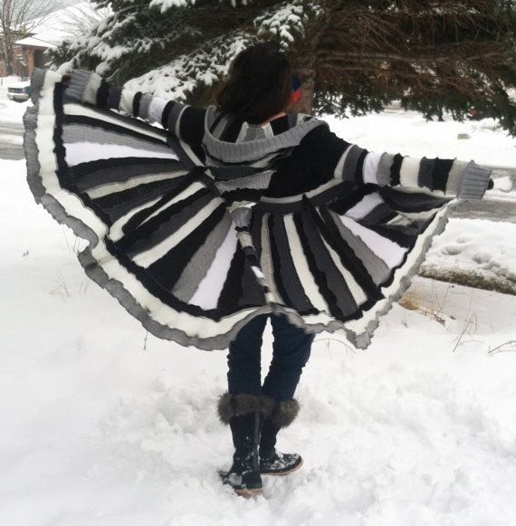 READY TO SHIP Diva Recycled Sweater Coat by CraftedByAuntyEm, $275.00
