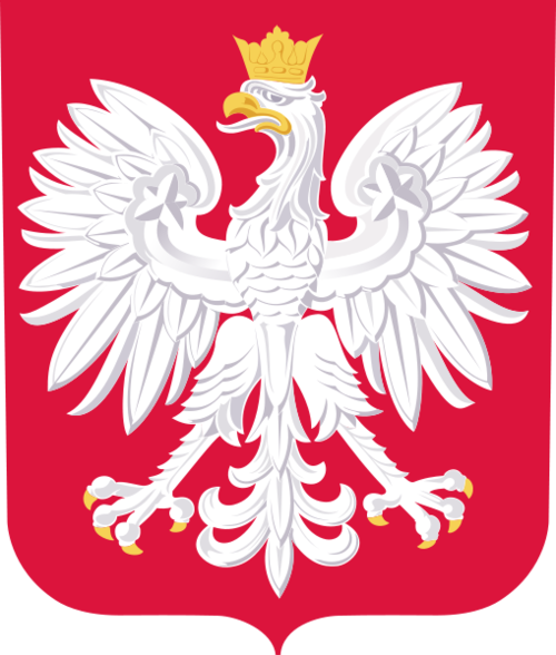 National arms of Poland | Blazon: Gules an eagle displayed argent, beaked, armed, and crowned or.