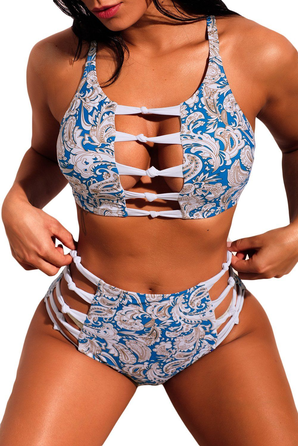 5950141ed5e75 Cutout Boho Print High Waist Bikini Swimsuit in 2019