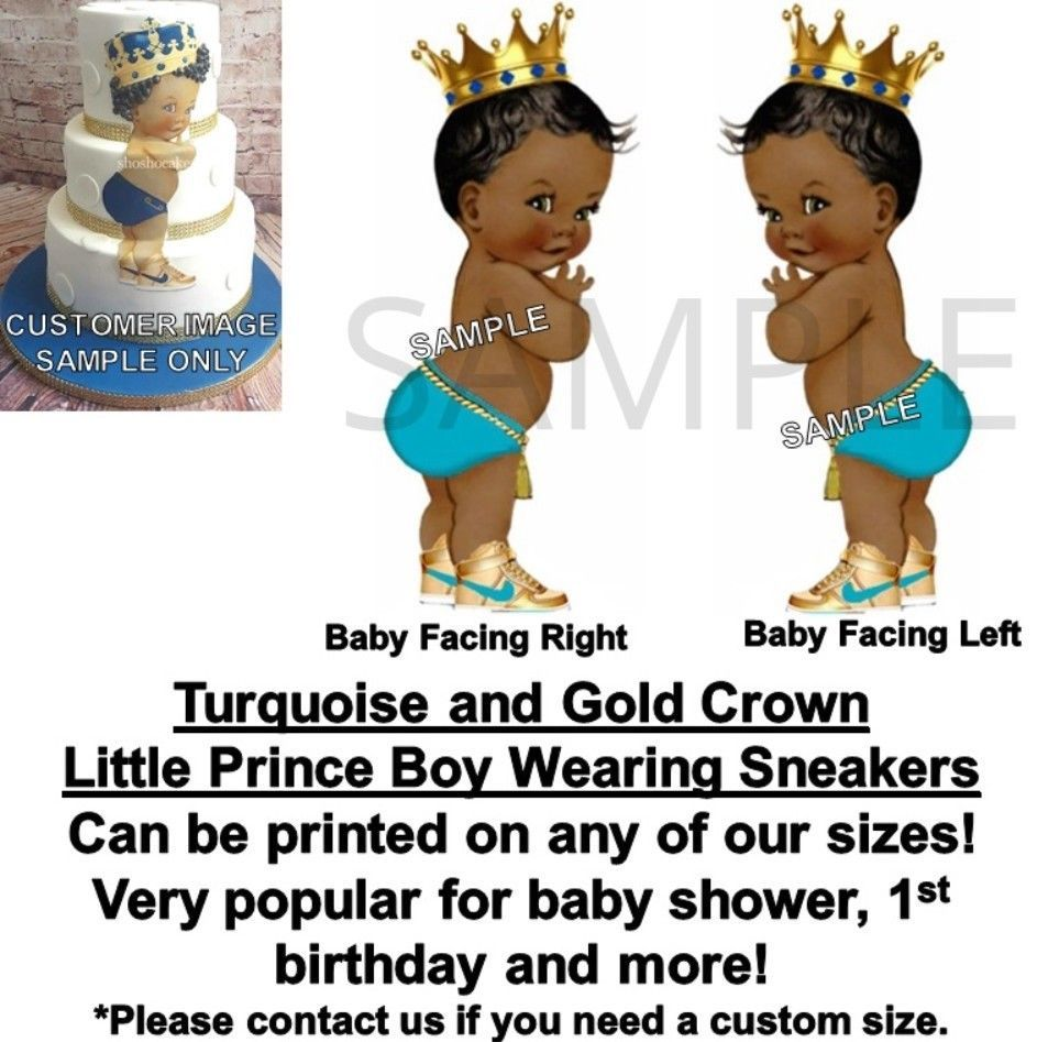 Pre-cut Little Prince Black Diaper Gold Crown Baby Edible Cake Topper Image Cute Kitchen, Dining & Bar
