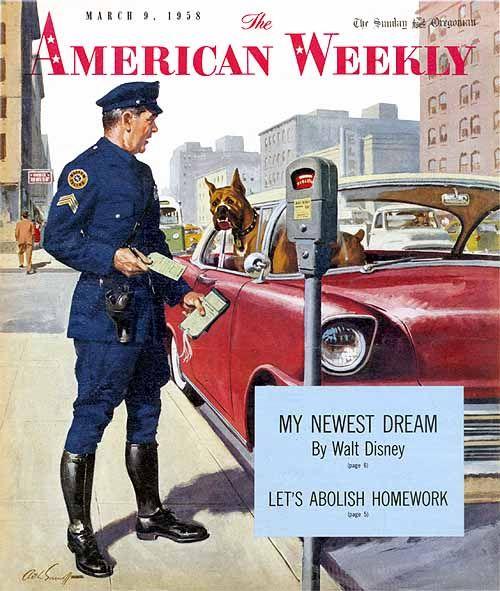 American Weekly 1958 Sarnoff Arthur Sarnoff Vintage Illustration Art Police Humor