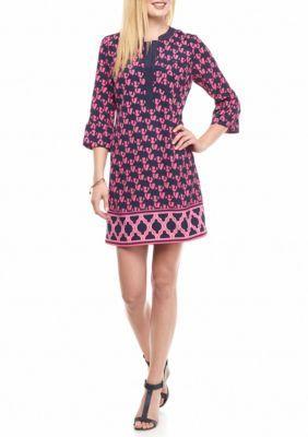 Crown  Ivy  PinkNavy Printed Bell Sleeve Dress