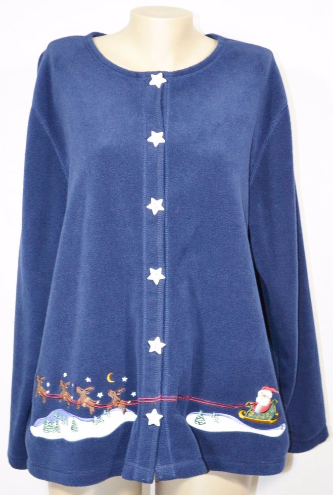 CROFT & BARROW CB SPORT WOMAN Blue Fleece Cardigan Sweatshirt 3X ...