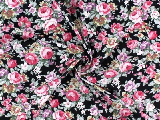 Baumwoll-Popeline Rosen, schwarz