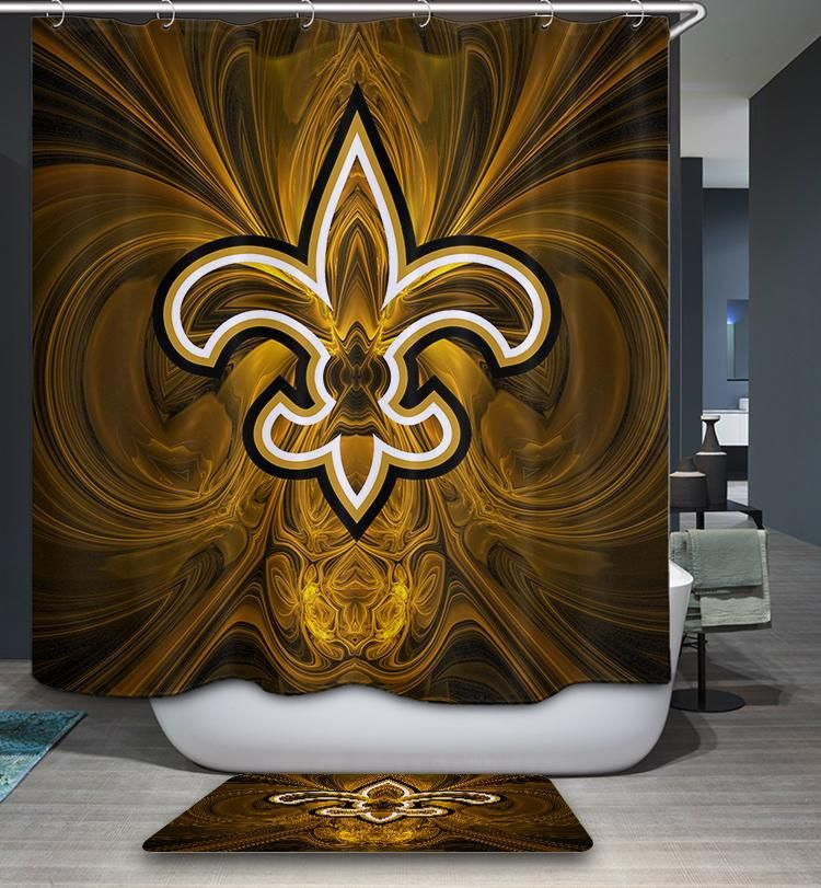 New Orleans Saints Flag Nfl Shower Curtain In 2020 New Orleans