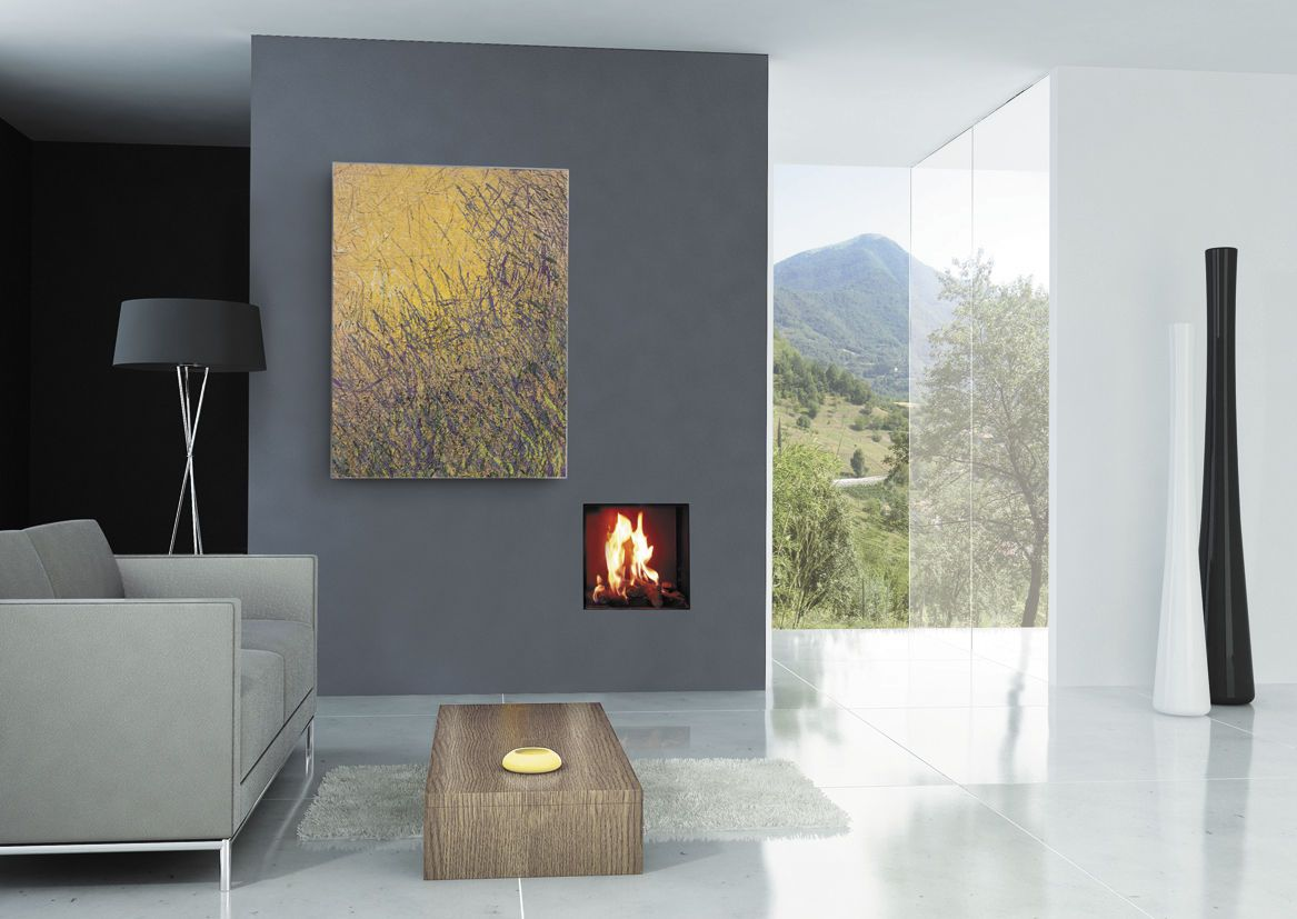 Extra small gas fireplace insert on grey living