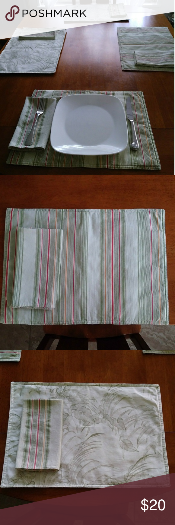 Bogo Deal Reversible Placemats With Napkins Fabric Tags Striped Napkin Placemats