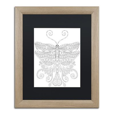 """Trademark Art 'Animals 8' by Hello Angel Framed Graphic Art Size: 20"""" H x 16"""" W x 0.5"""" D, Matte Color: Black"""