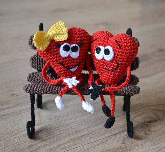Hearts on bench Crochet pattern Valentine hearts Lovebirds Amigurumi small hearts Unique handmade gift Crochet bench Digital download PDF