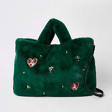 8ce617ac1e12 Green faux fur jewel embellished shopper bag in 2018