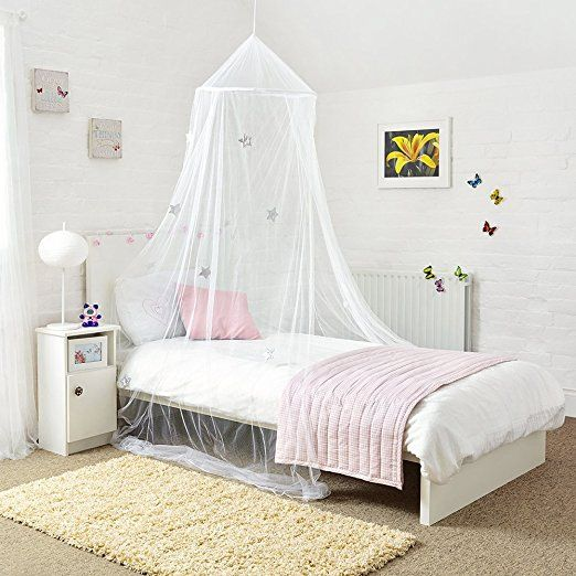 Mosquito Nets 4 U White Princess Bed Canopy With Shiny Silver Stars Princess Canopy Bed White Bed Canopy Bed