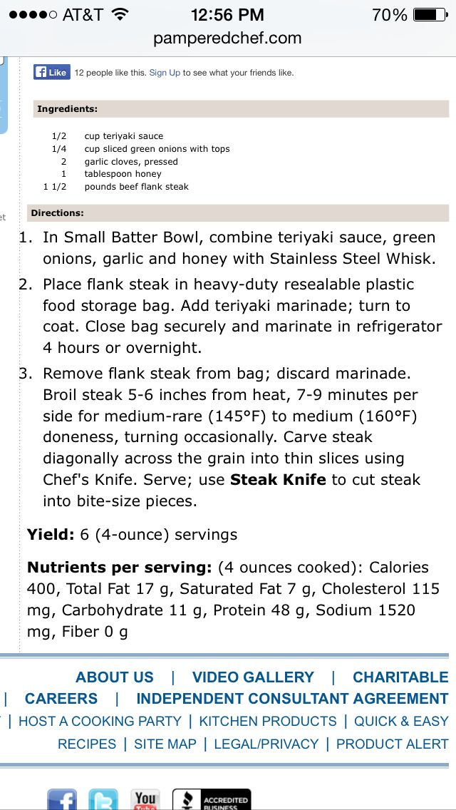 Pampered Chef Flank Steak Marinade Recipe Get In My Belly
