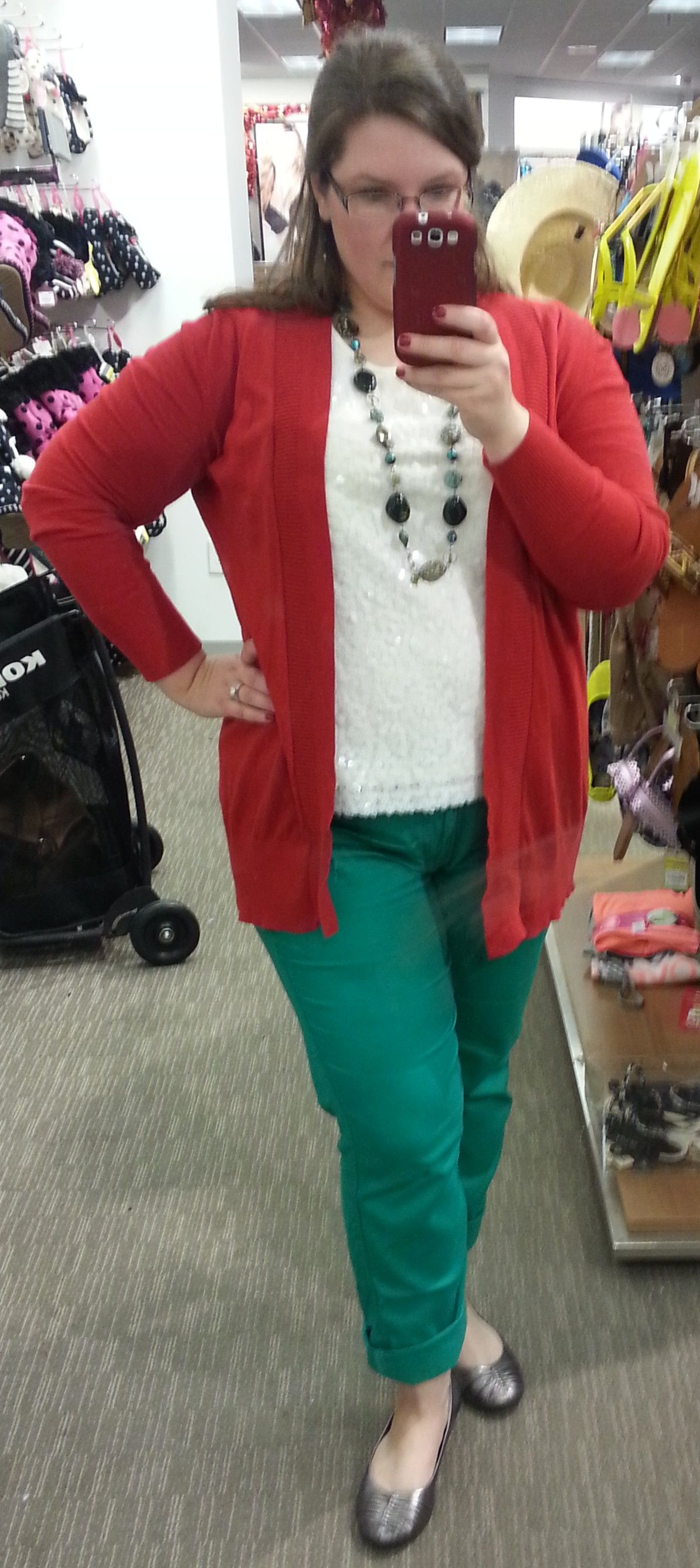c2c51975e6a11 Lane Bryant red cardigan  white sequin tank  green skinnies  Naturalizer  pewter ballet flats  long green necklace  365daywardrobeplus  winteroutfit  ...