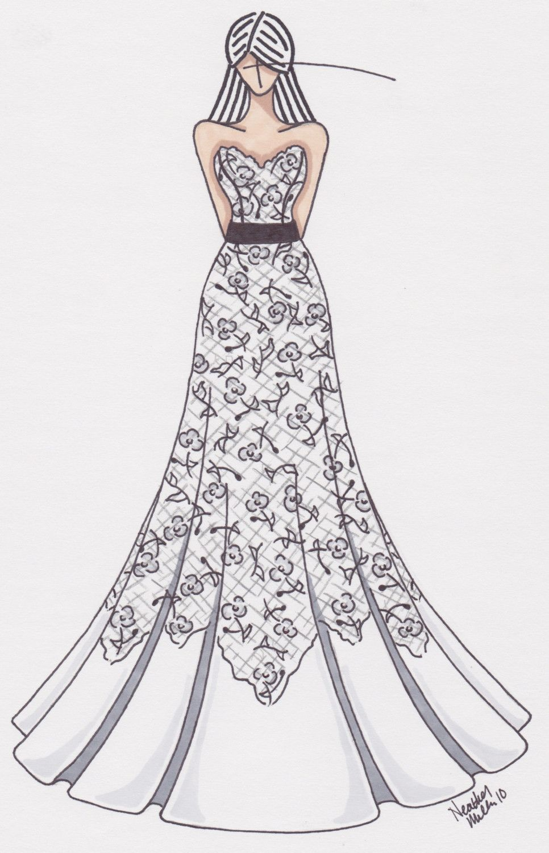 Wedding dress drawing  customized wedding gown sketch by gownsketch on Etsy  有一首歌