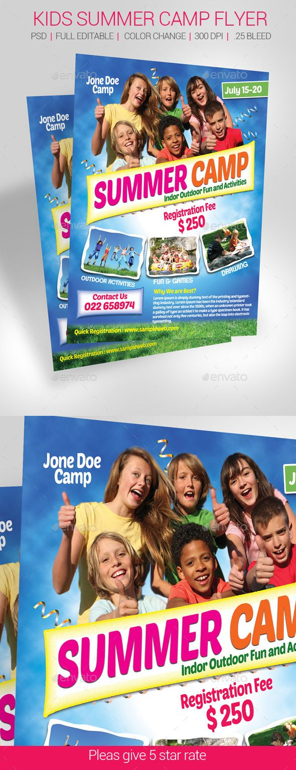 Kids Summer Camp Flyer   Niño y Verano