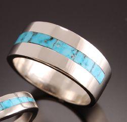 navajo mens white gold and turquoise inlay wedding band - Navajo Wedding Rings