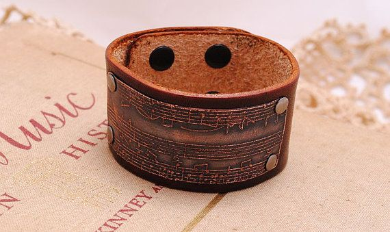 Sheet Music Bracelet Etched Copper And Leather By Quesarahsera 30 00 Music Bracelet Etched Copper Bracelets