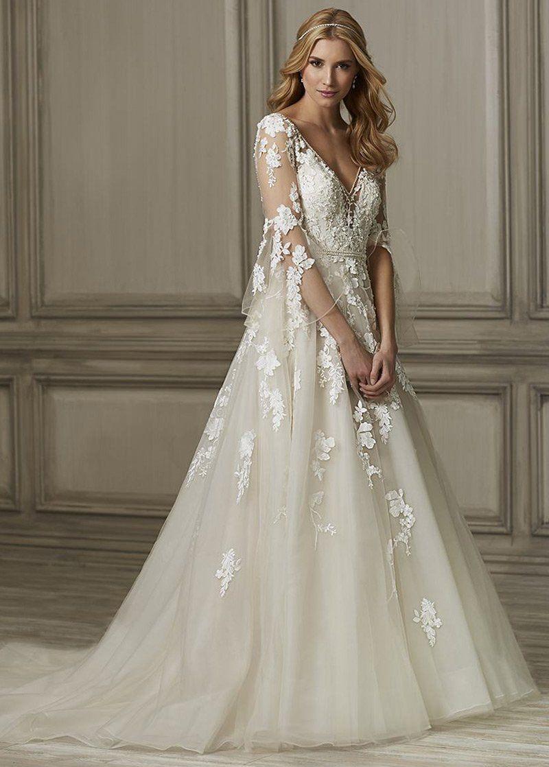 Simple Wedding Dress, Junoesque Tulle Vneck Neckline A