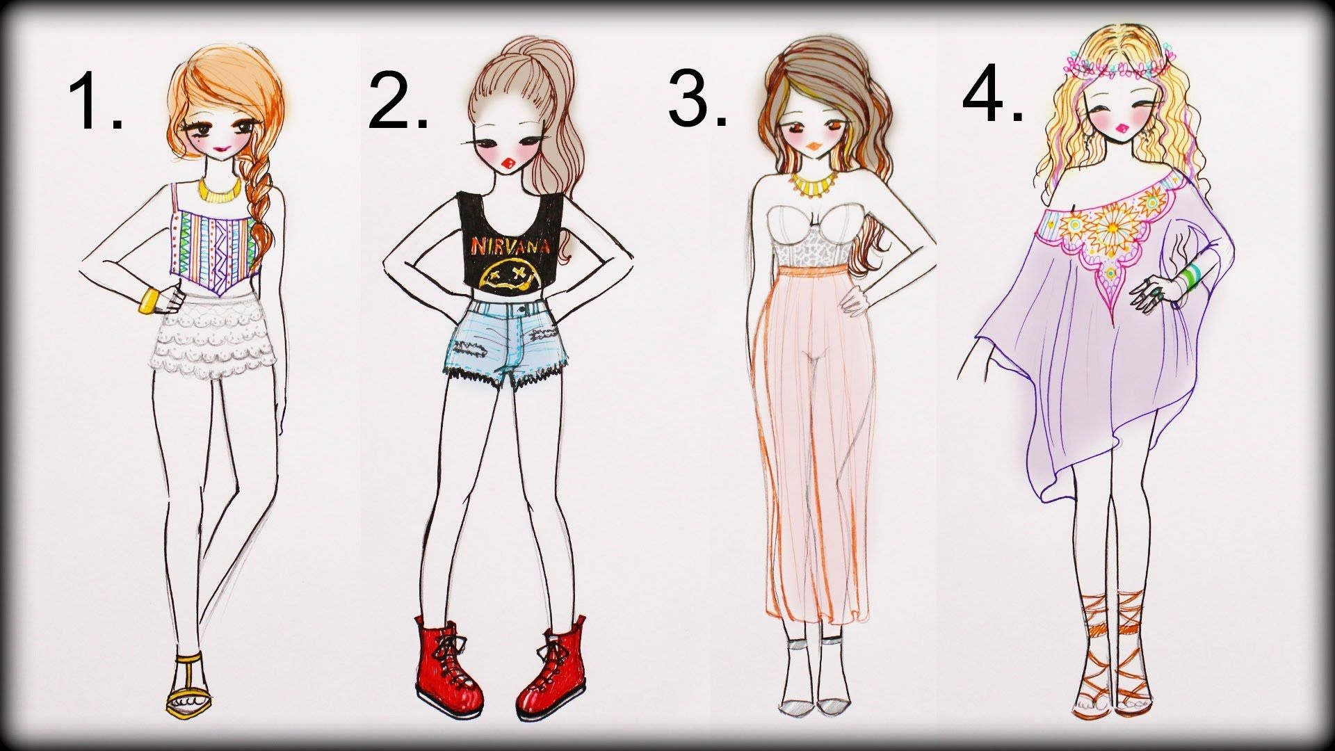 Drawing Tutorial How To Draw 4 Summer Outfits Fashion