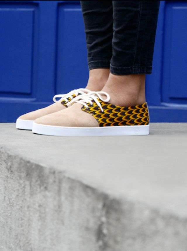 buy popular db7f0 b0904 These Are The Sneaker Brands French Girls Swear By -  85 Panafrica  Mamoudzou Sneakers Pale Nude Pink And Yellow Patterned Suede