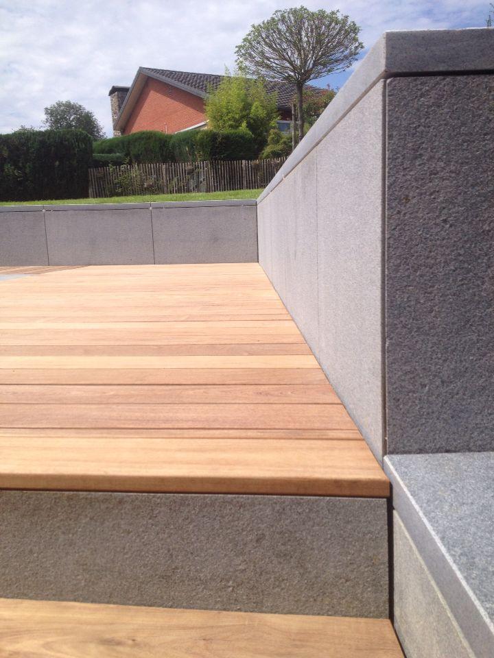 terrasse bois et mur en pierre bleue flamm e bouchard e terrasse pinterest terrasse bois. Black Bedroom Furniture Sets. Home Design Ideas