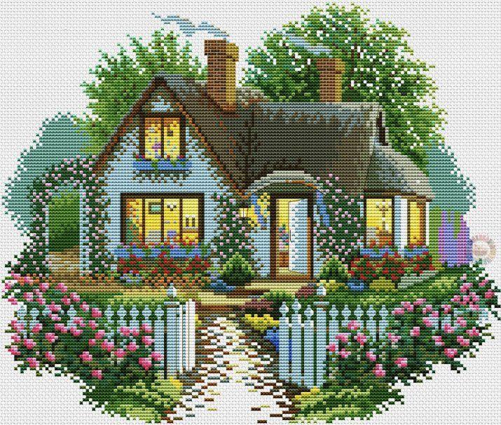 House with roses | winter cross stitch up cross stitch cozy cross stitch pdf pattern cross stitch design pdf cross stitch