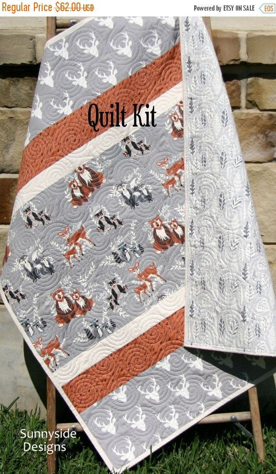 Woodland Quilt Kit, Baby Boy, DIY Project, Forest Animals Hello Bear, Art Gallery Fabrics, Deer Fox, Simple Easy Beginner, Striped Pattern