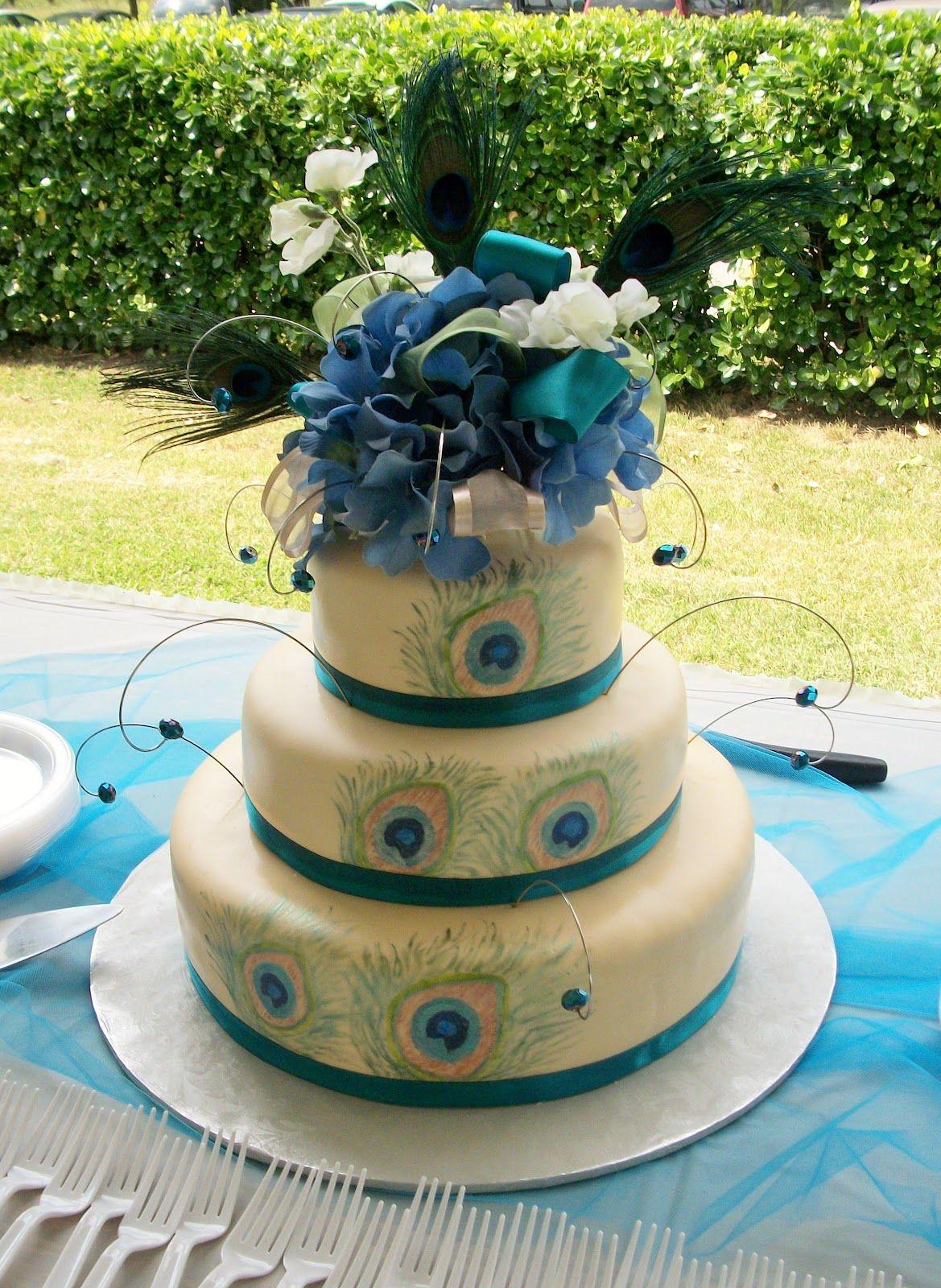 Square Peacock Wedding Cake