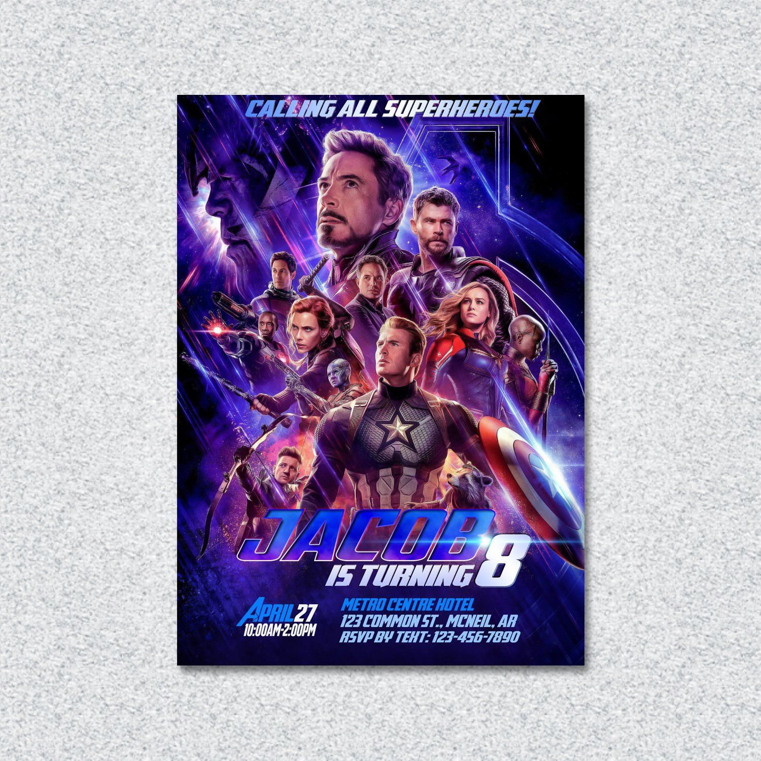 Avengers EndGame Invitation Birthday Printable Personalized By ClickAndSelect