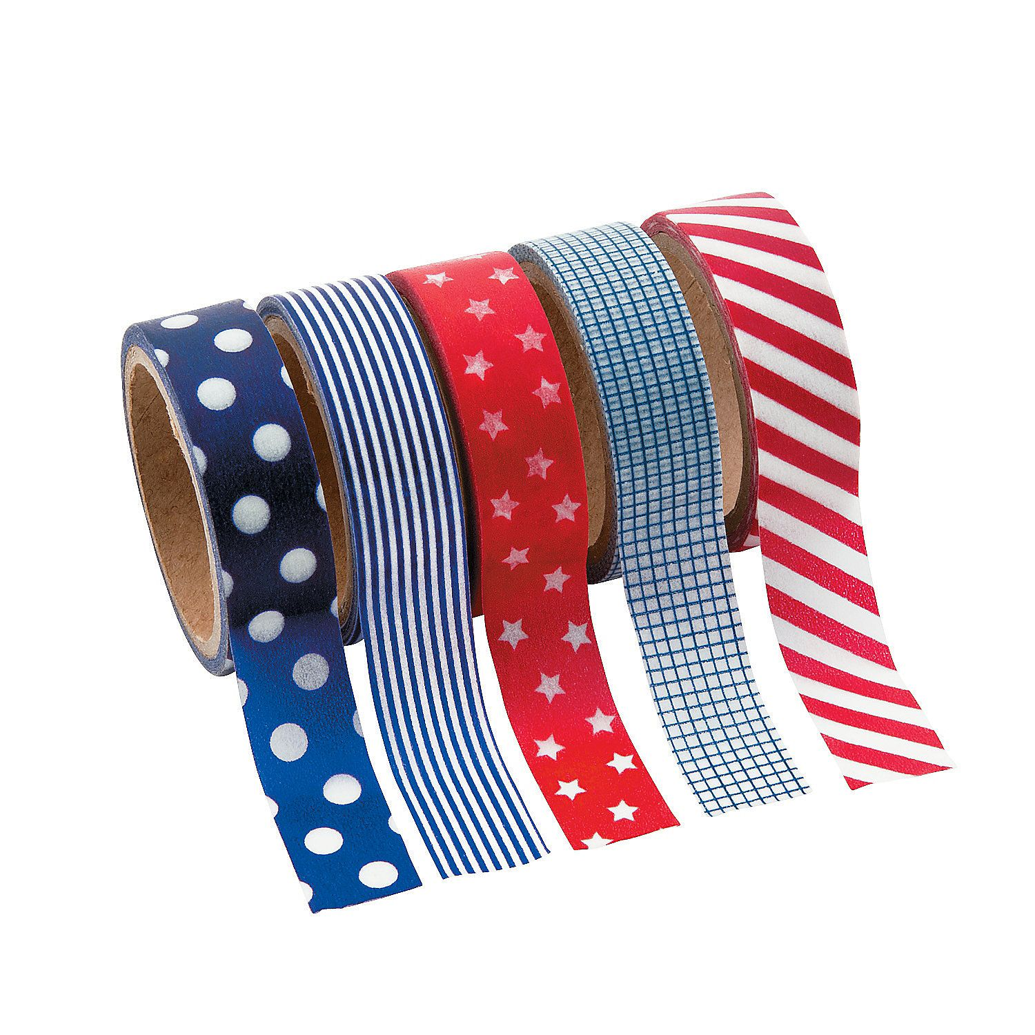 """Patriotic Washi Tape Set - OrientalTrading.com - Give your paper crafts some star-spangled style with this decorative masking tape. This patriotic-patterned tape adds Americana charm to crafts of all kinds. Each roll includes 16 ft. of tape. (5 rolls per unit) 5/8"""" © OTC"""