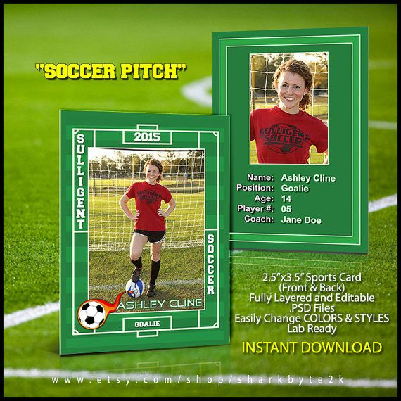 2020 Soccer Sports Trader Card Template For Photoshop Soccer Etsy In 2020 Baseball Card Template Soccer Cards Trading Card Template
