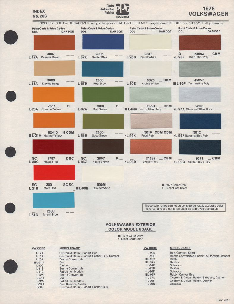 Paint Chips 1978 Beetle Vw Bus Volkswagen Car Paint Colors