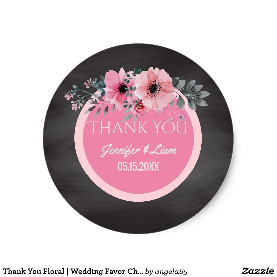 Thank You Floral | Wedding Favor Chalkboard Classic Round Sticker ...
