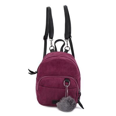 Guapabien Mini Corduroy Fabric Women Backpack Fluffy Ball Shoulder Bag  Small Rucksack Women Shopping Bags Mini Mochila feminine 23445b8f88