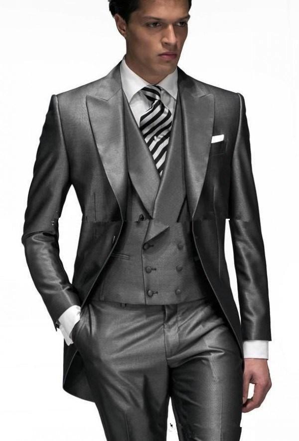 New Style One Button Gray Groom Tuxedos Peak Lapel Men Business Suit ...