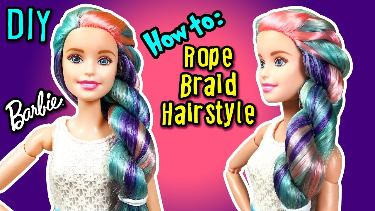Barbie Hairstyles Extraordinary How To Rope Braid Hairstyle With Barbie Doll  Diy Doll Hairstyles