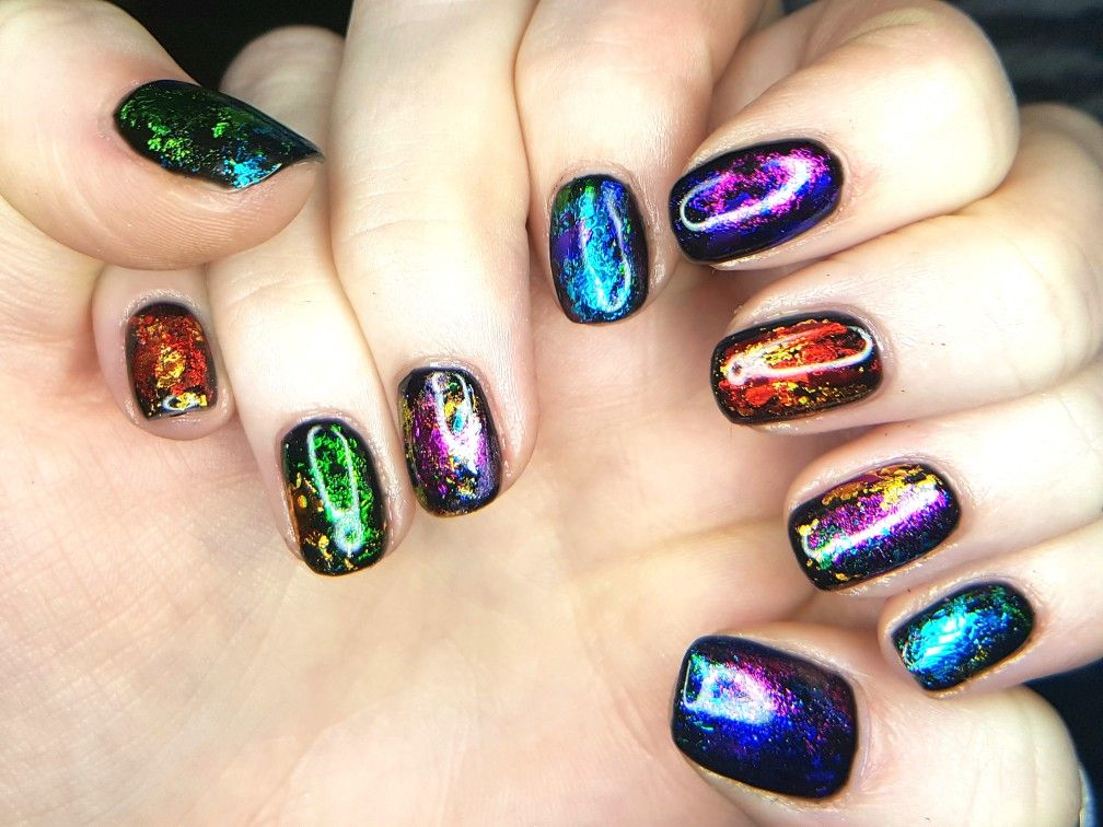 Rainbow Gel Nails With Colourful Transfer Foils Foil Nail Designs Gel Nail Designs Nails Inspiration