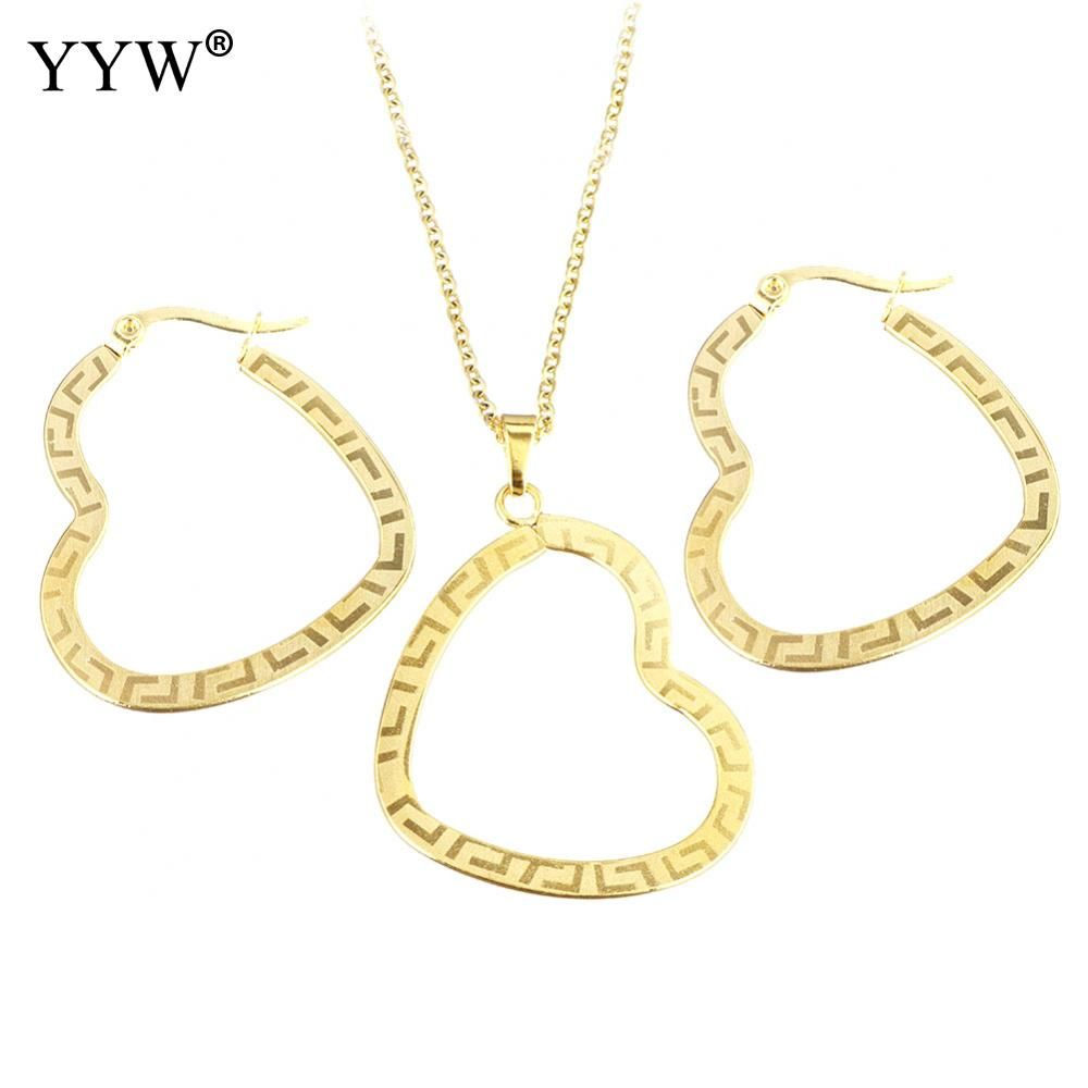 Fashion stainless steel jewelry sets earring u necklace heart gold