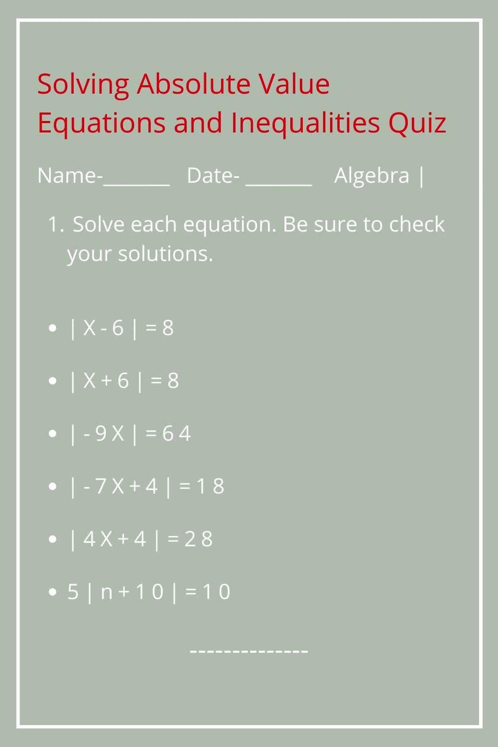 Solving Absolute Value Equations And Inequalities Printable Etsy Video Video Absolute Value Equations Homeschool Worksheets Absolute Value