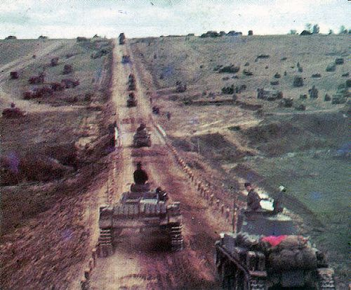 Panzer III and Panzer 38ts on the marchin Russia during 1941's Barbarossa campaign.  Might be 7th Panzer Division. by GLORY. The largest archive of german WWII images, via Flickr