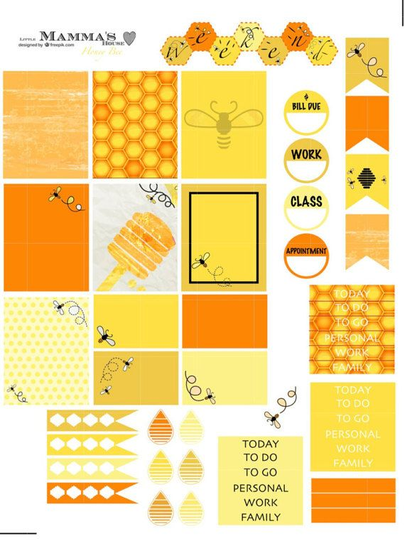 Honey Bee Weekly Sticker Set for Erin Condren Life Planner (Vertical), Plum Paper Planner, Inkwell Press Planner Decorating Kit